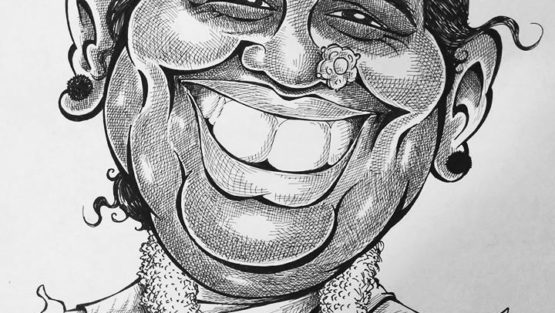 Caricature of Amma.