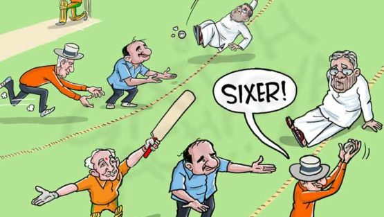 And it's a sixer for Yeddyurappa!
